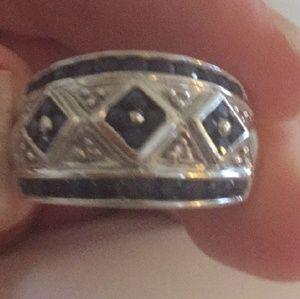 Jewelry - 10k White Gold Sapphire/Diamond Cigar band